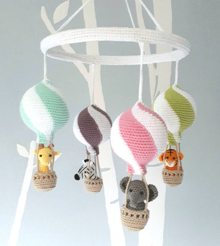 Hot air balloon mobile with crochet animals, baby shower gift