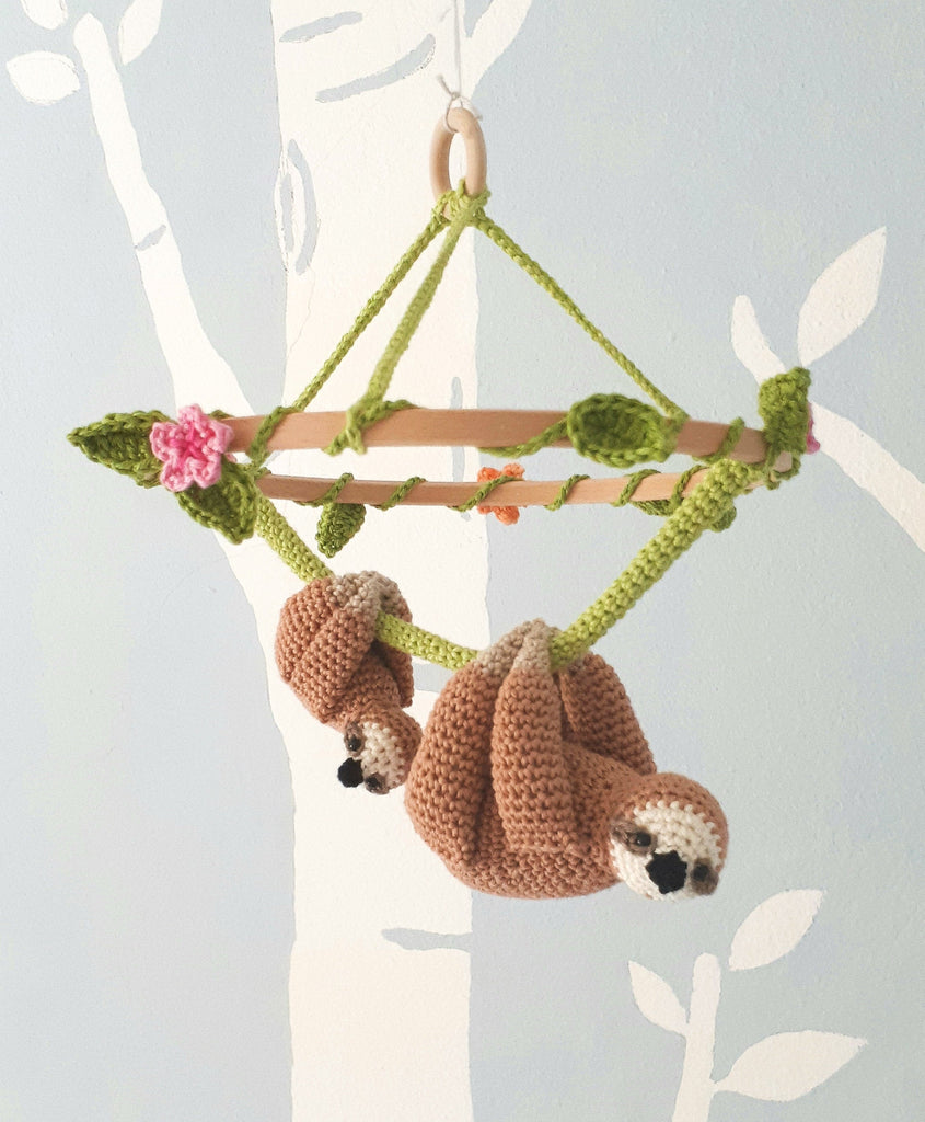 Sloth baby nursery mobile with flowers - Crochet on a tree