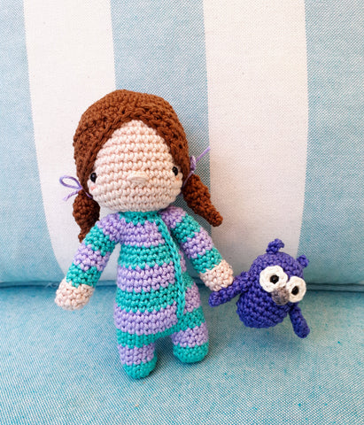 Sleepy Jenny crochet doll amigurumi with owl plush