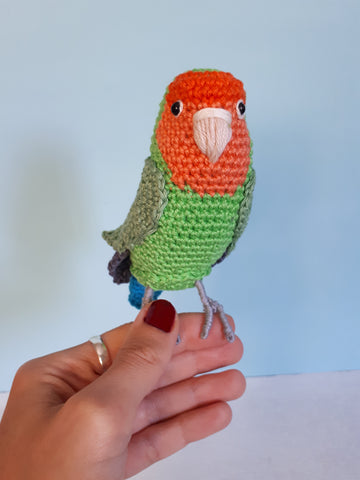 Peach-faced lovebird plush crochet toy, bird lover gift