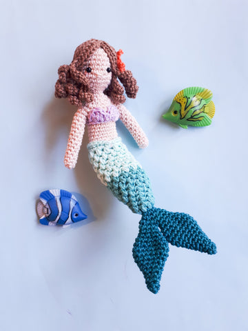 Mermaid amigurumi doll crochet pattern, digital download, printable pdf file