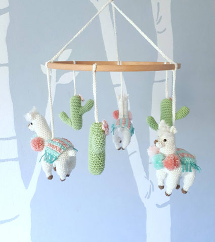 Llama baby mobile, boho nursery decor