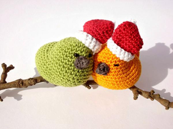 Christmas birds decor - Crochet on a tree