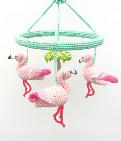 Pink Flamingo Baby Mobile