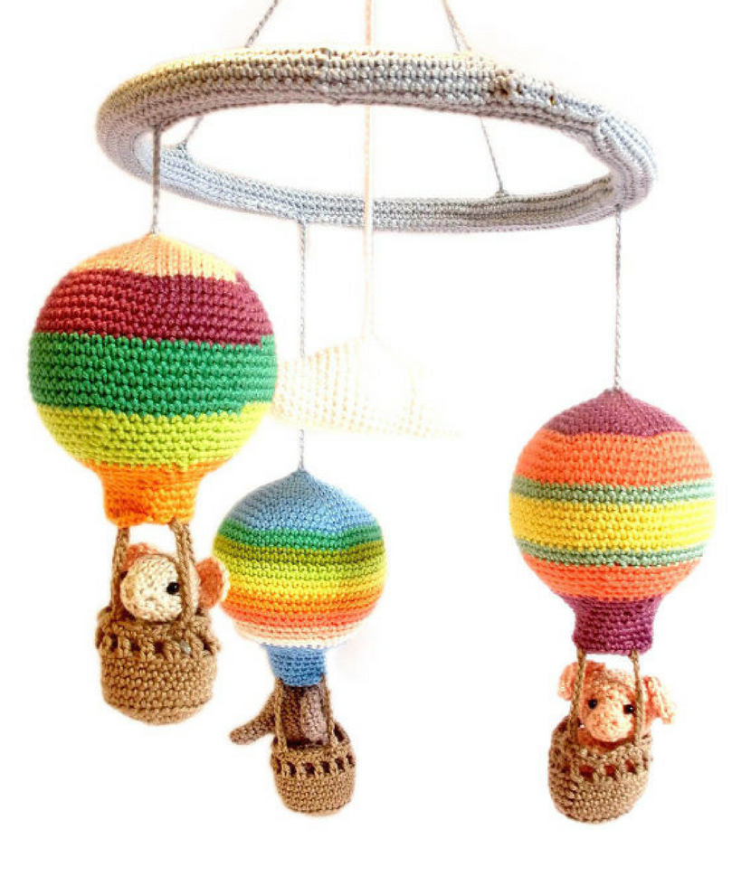 Striped hot air balloon mobile - Crochet on a tree