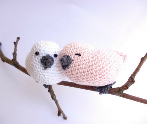 Crochet love birds decoration