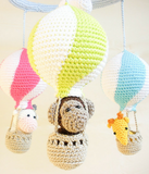 Hot air balloon baby mobile - Crochet on a tree