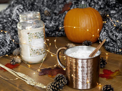 Pumpkin and mug of spiced latte