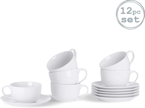 Argon Tableware White Cappuccino Large Coffee Cup/Saucer Set