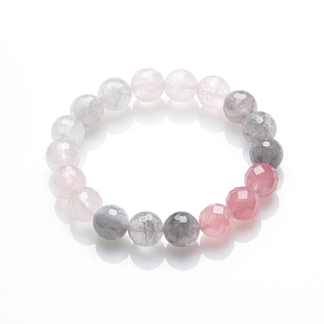 ROSE QUARTZ AND SMOKEY QUARTZ LOVE ME BRACELET