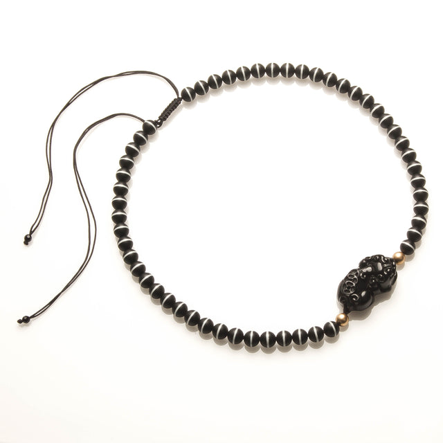 Obsidian Piyao and Medicine Necklace for Men