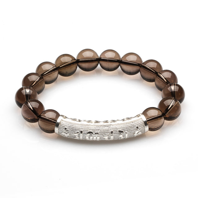 SMOKEY QUARTZ BRACELET WITH OM MANI PADMA HUM