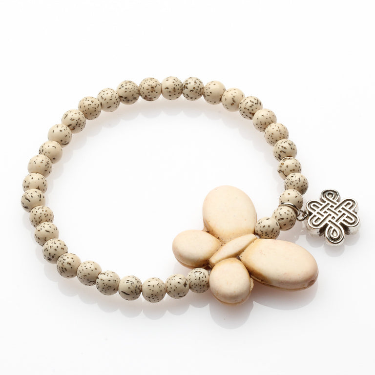 Bodhi Seed And White Butterfly Love Bracelet