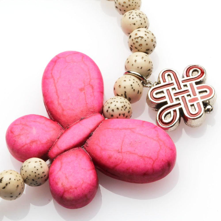 Bodhi Seed And Pink Butterfly Love Bracelet