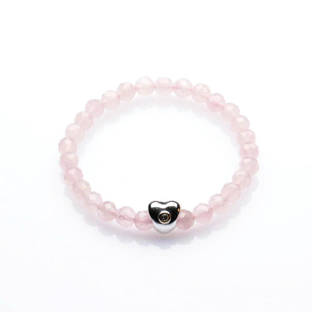 ROSE QUARTZ WITH HEART BRACELET FOR WOMEN