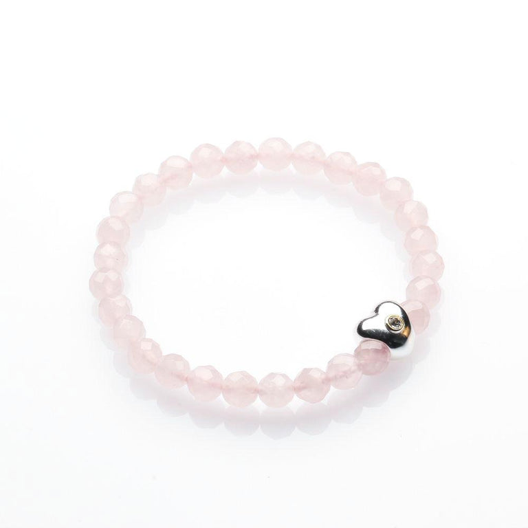 Rose Quartz with 925 Heart Charm Love Bracelet