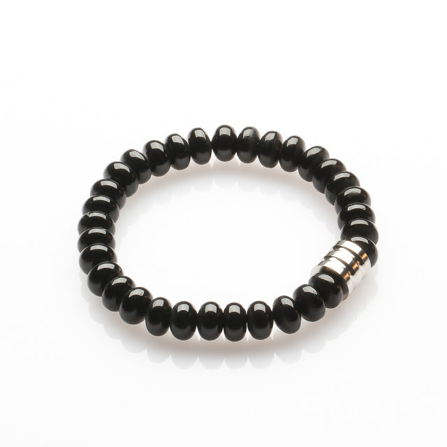 Black Tourmaline with Stainless Steel Bracelet