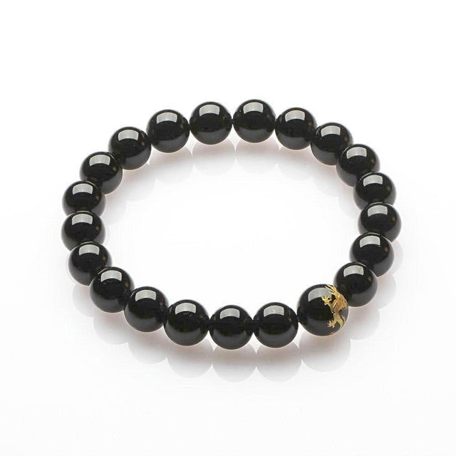 Black Tourmaline with Dragon Bracelet