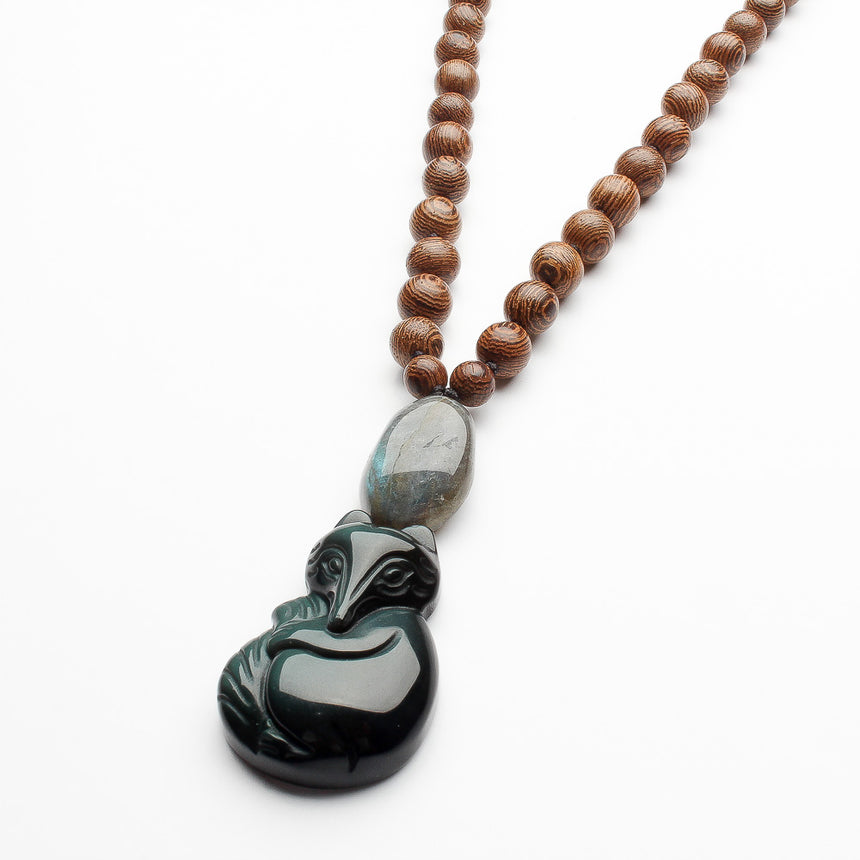 Good Relationship Necklace with Obsidian Fox