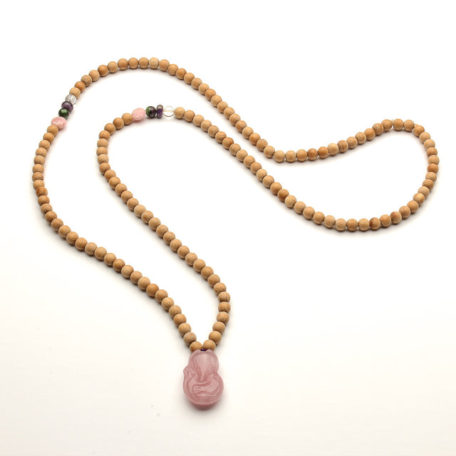 THUJA WOOD NECKLACE WITH ROSE QUARTZ FOX NECKLACE FOR WOMEN