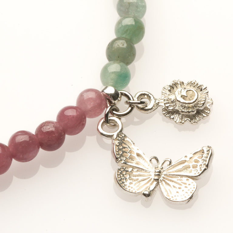 Watermelon Tourmaline with Butterfly and Rose Charm Bracelet