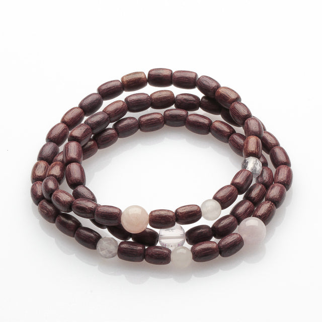 Purple wood with Rose Quartz Multi Layer Bracelet
