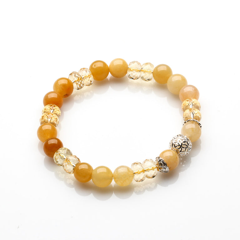 HANDMADE CITRINE AND YELLOW JADE JOY AND WEALTH BRACELET
