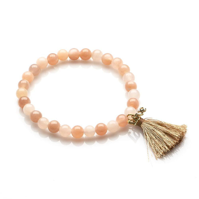 AGATE AND MOONSTONE PEACE AND LOVE BRACELET FOR WOMEN