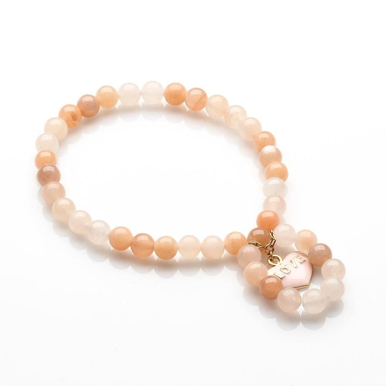 PEACE AND LOVE AGATE AND MOONSTONE BRACELET