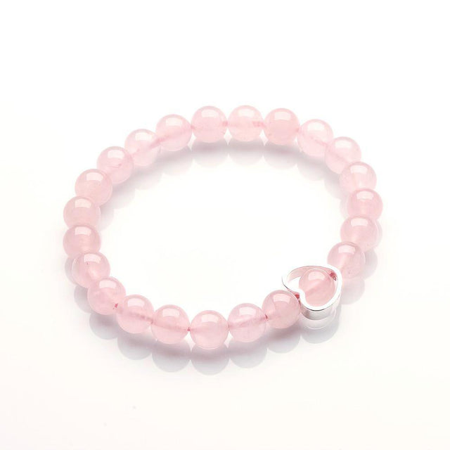 ROSE QUARTZ WITH SILVER HEART BRACELET