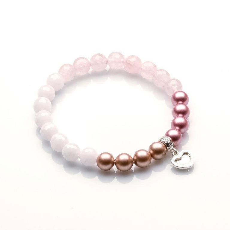 ROSE QUARTZ AND WHITE JADE LOVE AND PEACE BRACELET