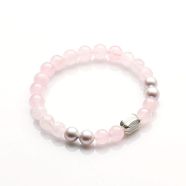 Rose Quartz with Swarovski Pearl and 'L' Silver Love Bracelet