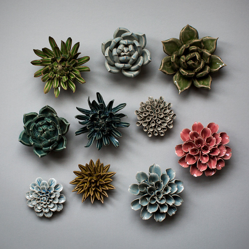 Coral ceramic flowers and succulents