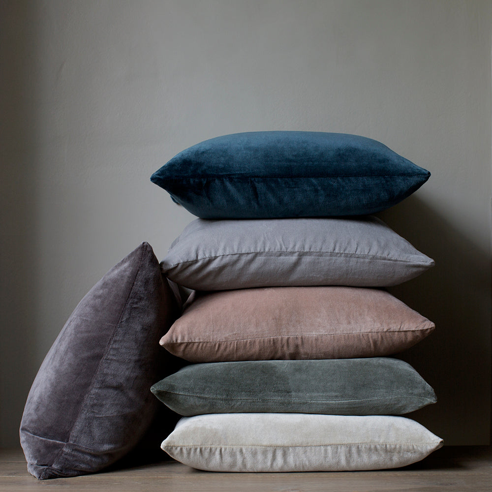 teal, light grey, dusty pink, dusty green, oyster, charcoal velvet cushions