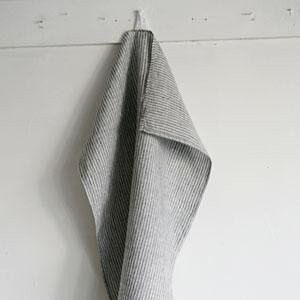 Fog Linen Work grey and white stripe tea towel