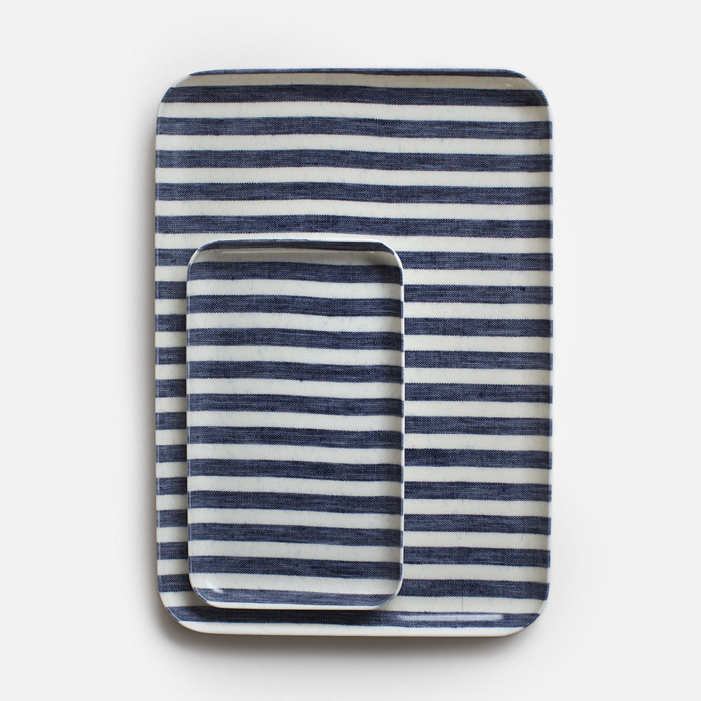FOG LINEN WORK BLUE WHITE striped tray uk