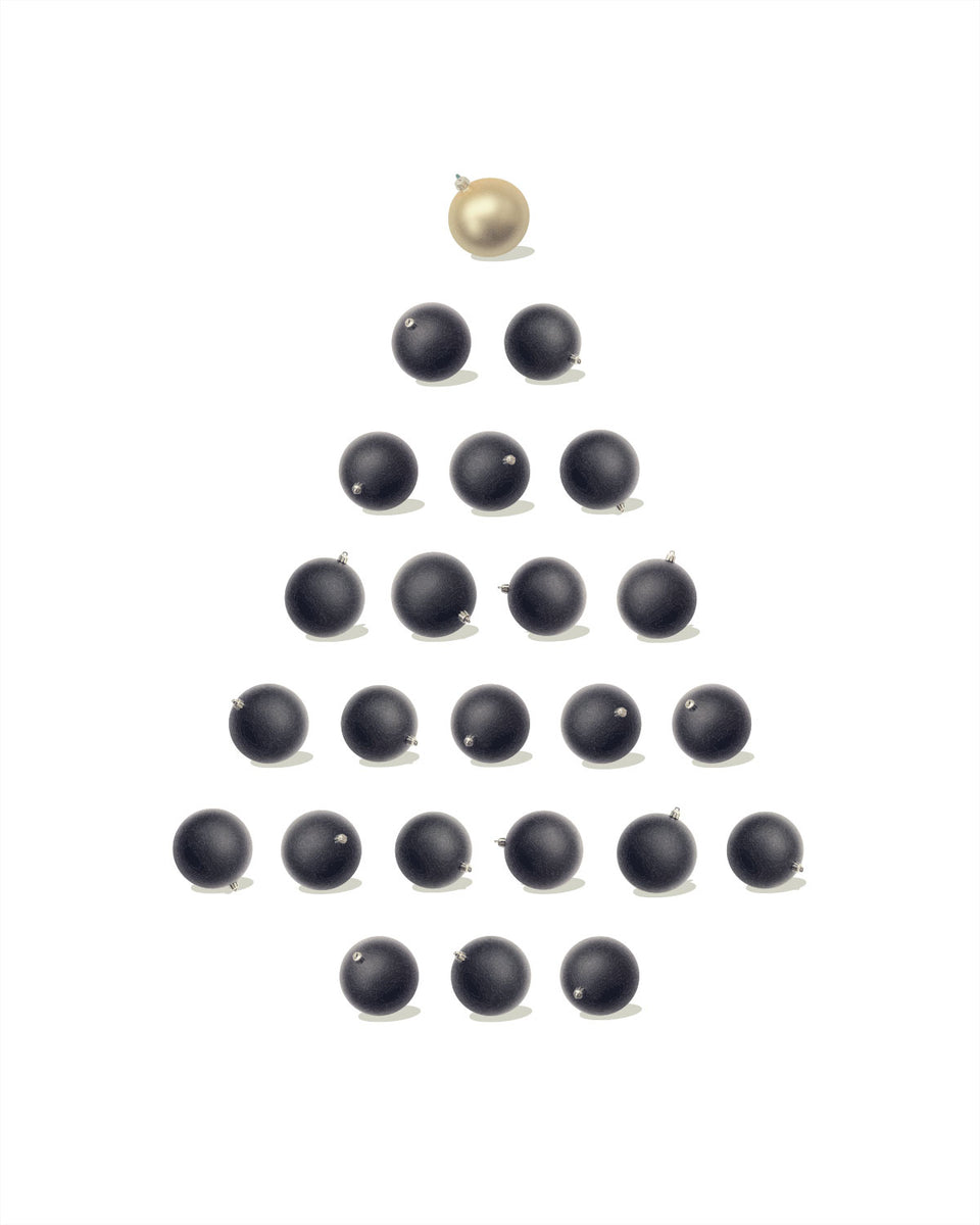 Christmas Tree Black and Gold Ornaments