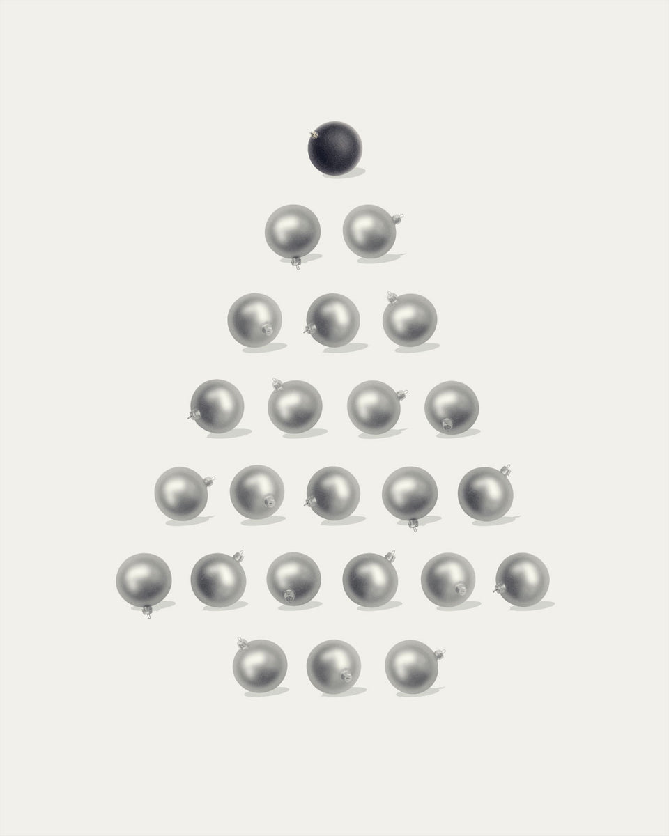 Christmas Tree Silver and Black Ornaments