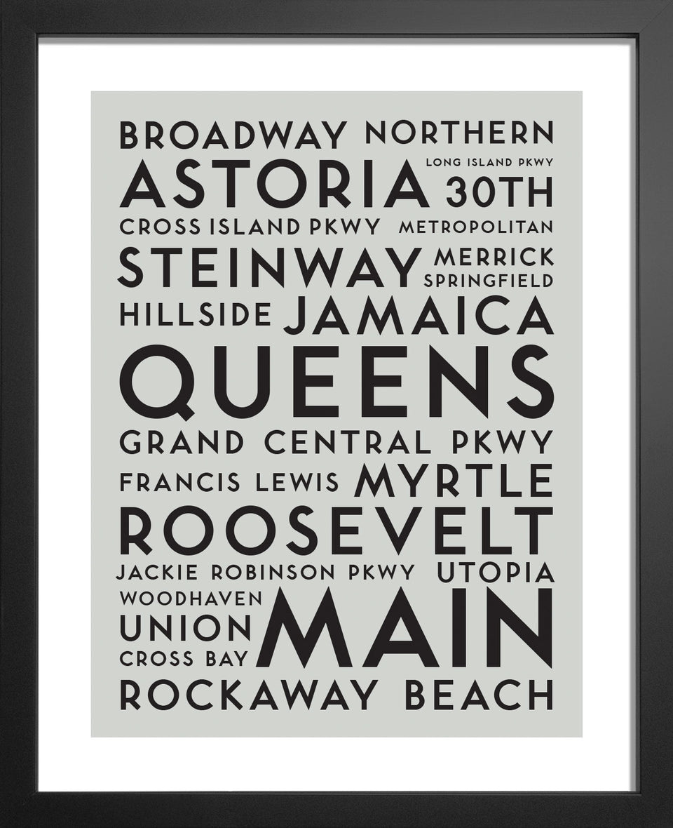 New York Queens Usa City Streets Typography Art Print By Manmade Art Manmade Art Inc