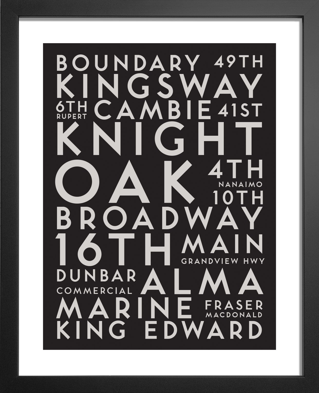Vancouver Central City Streets Typography Art Print By Manmade Art Manmade Art Inc