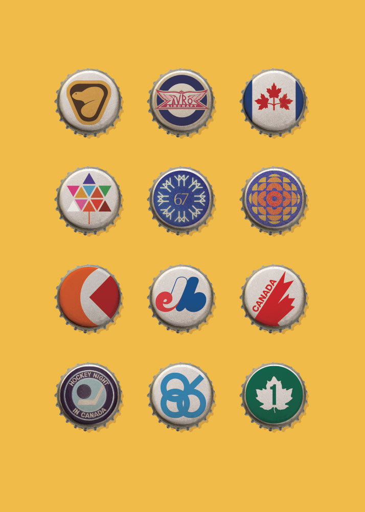 Greeting Card: Iconic Canadian Logo Beer Caps
