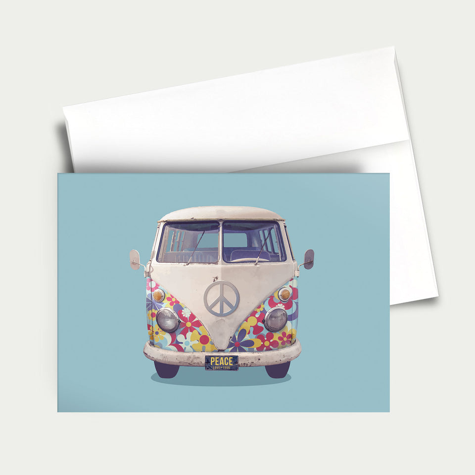 Greeting Card: VW Flower Power Bus