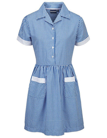 Ayr Corded Gingham Dress Blue