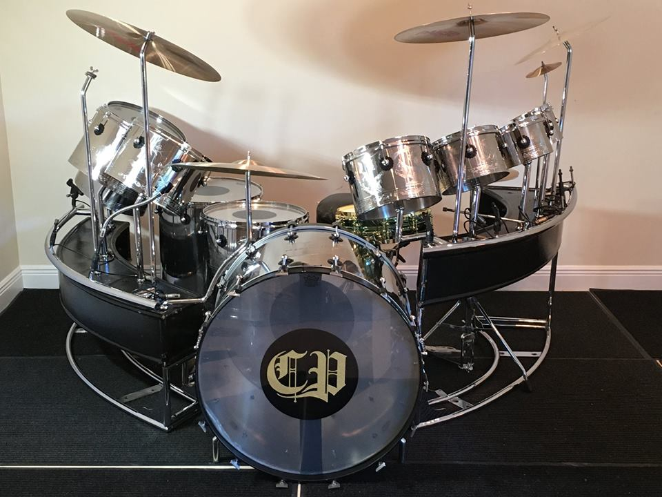 Carl Palmer's stainless steel drum kit