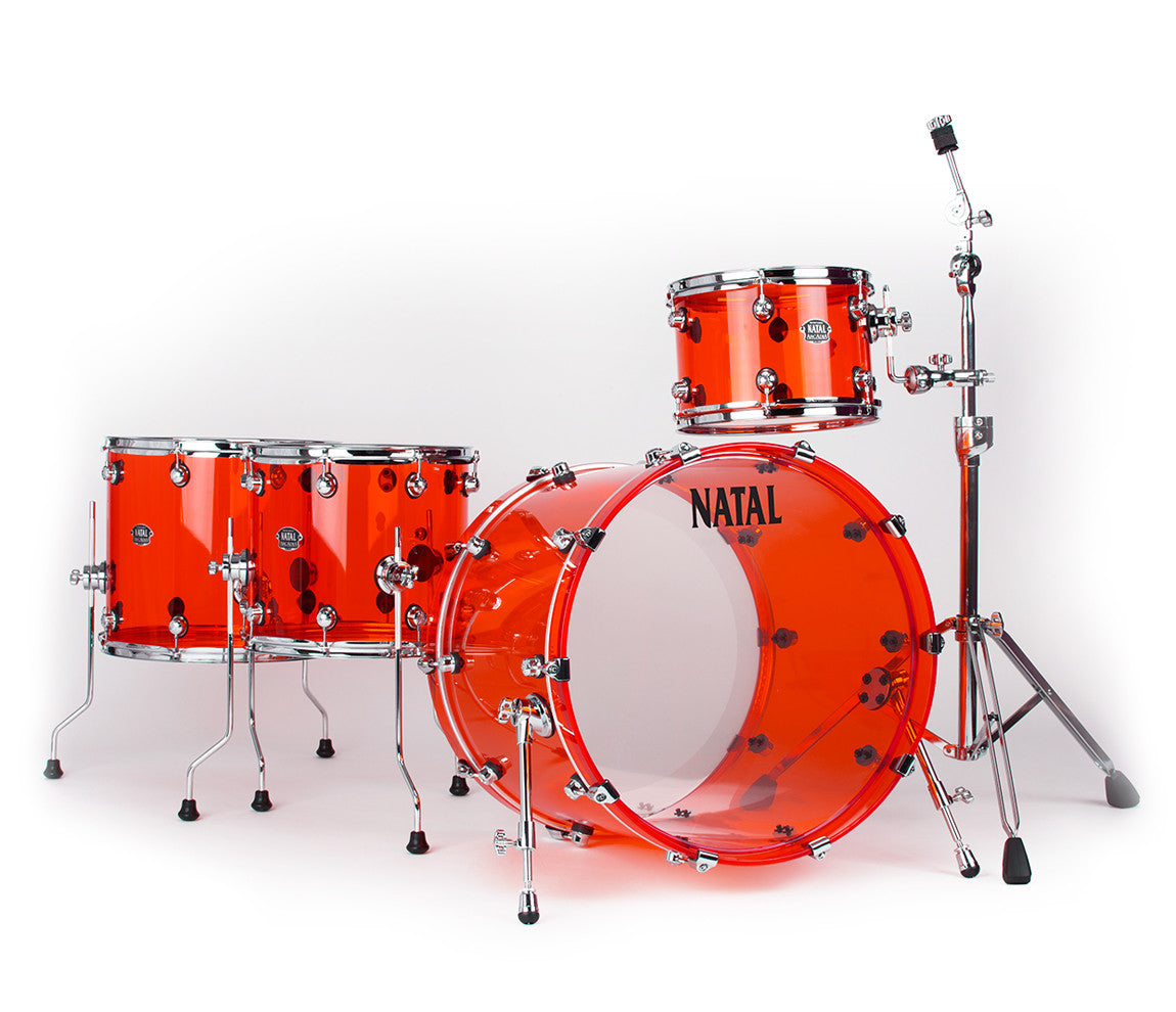Natal Arcadia Acrylic drum kit in transparent red