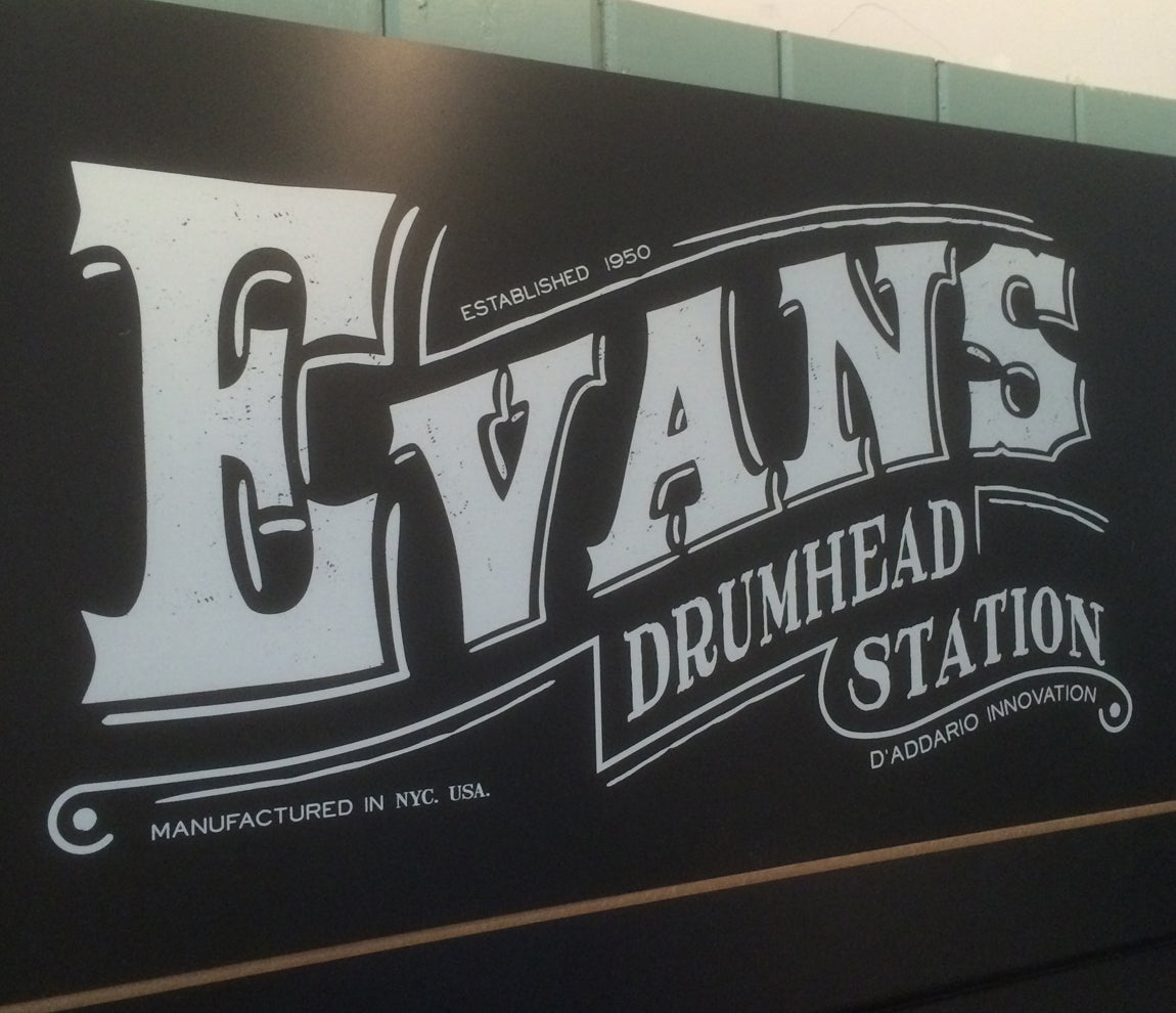 Evans drum head station at Newcastle Drum Centre
