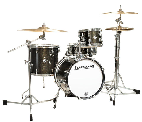 Ludwig Questove Breakbeats 4-piece Drum Kit in Black Gold Sparkle