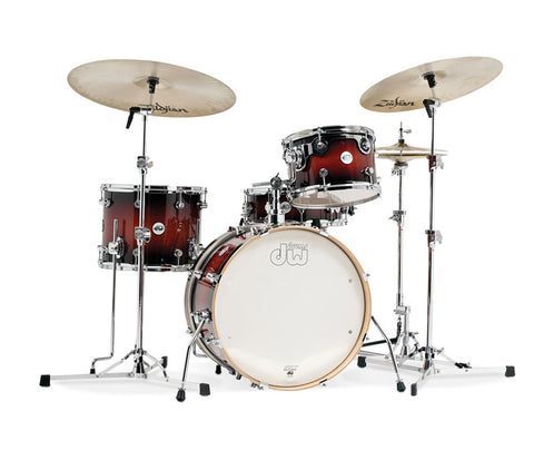DW Design Series 4-Piece Frequent Flyer Gloss Lacquer Drum Kit in Tobacco Burst
