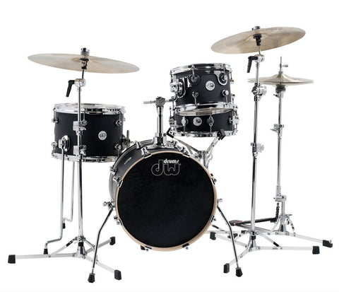 DW Design Series Mini Pro Matte Lacquer 4-Piece Drum Kit in Black Satin