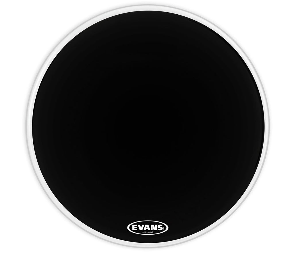 Evans EQ3 Resonant Black Bass Drum Head, No Port, 26""